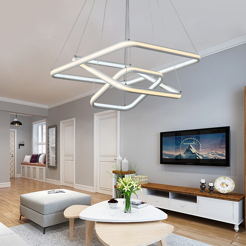 NEO Gleam Square High Brightness Double Glow Modern Led Chandeliers For Dining Kitchen Room Aluminum White Hanging Chandelier modern crystal chandelier led hanging lighting european style glass chandeliers light for living dining room restaurant decor