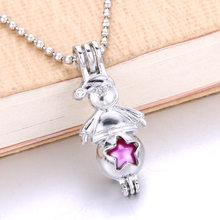 6pcs Silver Plated คริสต์มาส Snowman Pearl CAGE Lockets Diffuser จี้สร้อยคอ(China)