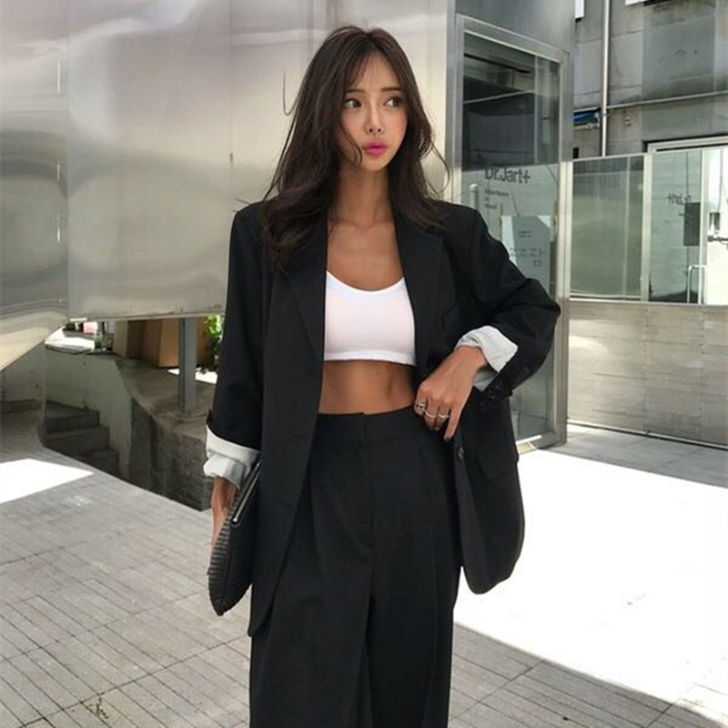 HziriP 2019 Elegant Black Single-breasted Women Blazer Fashion Vintage Solid Loose Work Wear Tops Outerwear Female Jacket