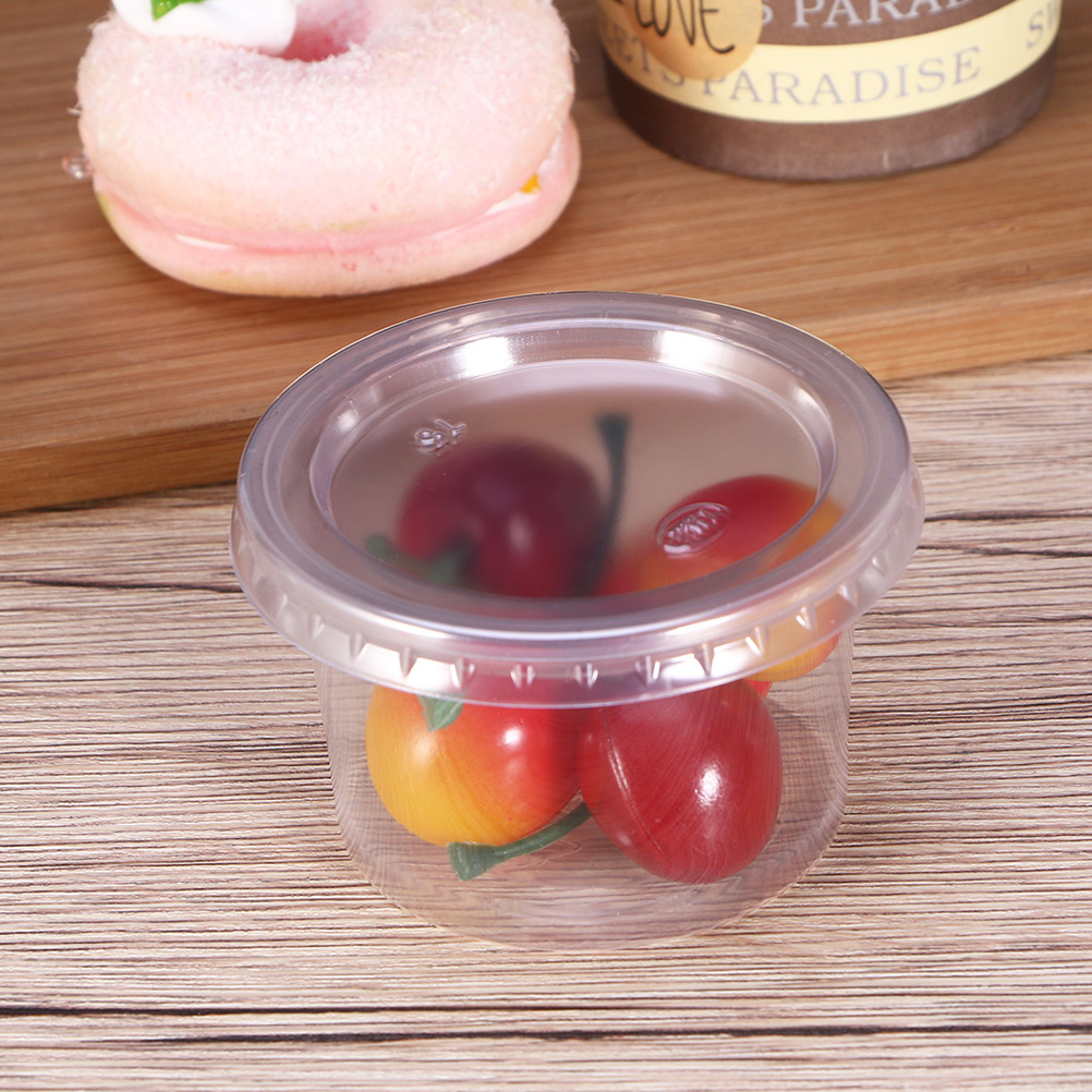 100Pcs 150ml Disposable Cup Lids Plastic Portion Cups Cover Clear Portion Lids For Jelly Yogurt Mousses Food Container Just Lids
