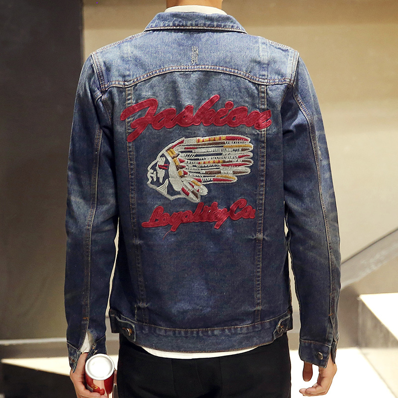 New design head embroidery denim jacket men single