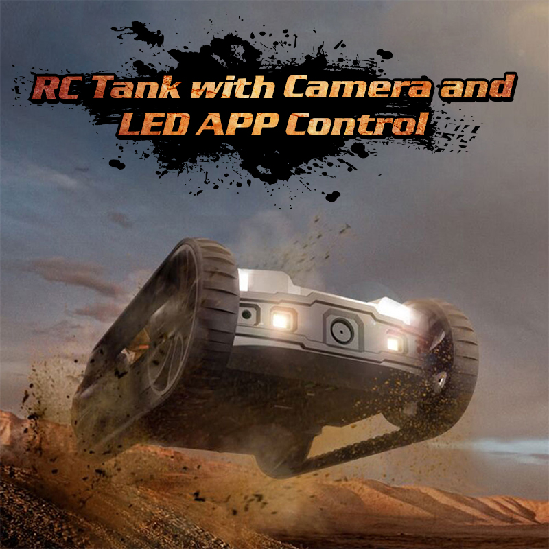Global Drone RC Robot Tank with HD Camera App Radio Control Tanks with LED Wireless AR