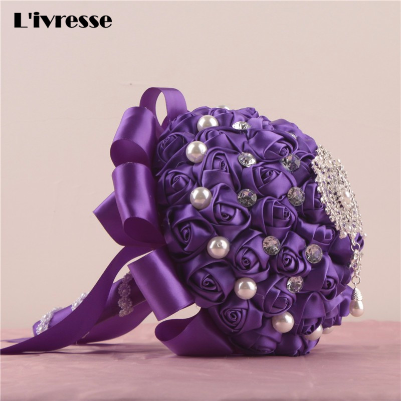White Ivory Pink Red Purple Royal Blue Wedding Bouquets Pearls ...