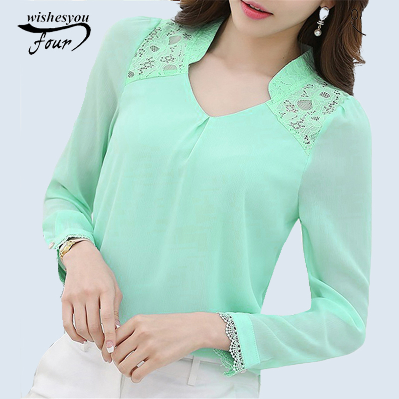New 2017 Spring Womens Profession Long-sleeved Solid Chiffon Blouse Shirts Women Plus Size Fashion Casual Women Clothing 860