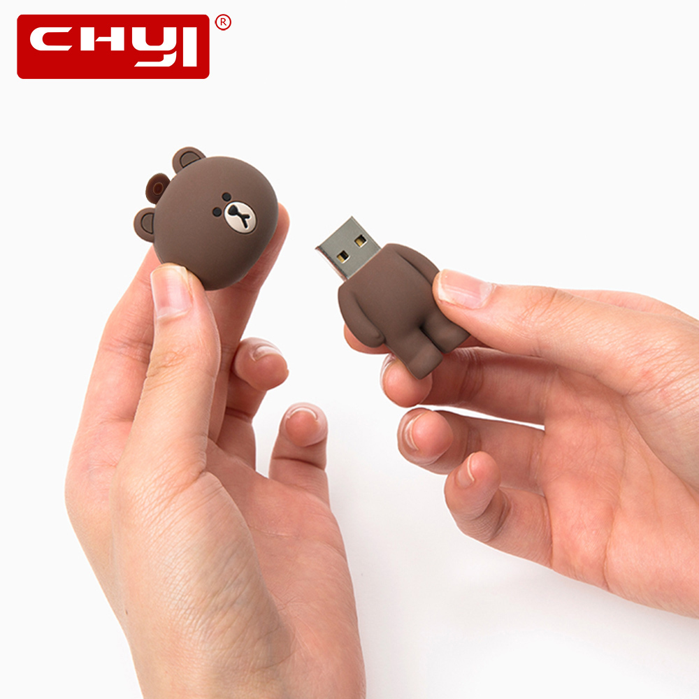 CHYI Mini Cartoon USB Flash Drive Pen Drive Cute Brown Bear White Blue Black Memory Stick 4GB 8GB 16GB 32GB 64GB Pendrive U Disk