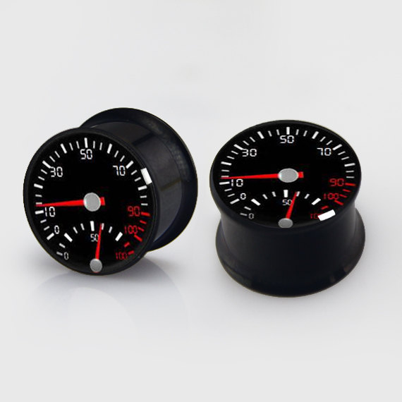 2 pieces speedometer plugs anodized black ear plug gauges steel flesh tunnel earlets body piercing jewelry 1 pair