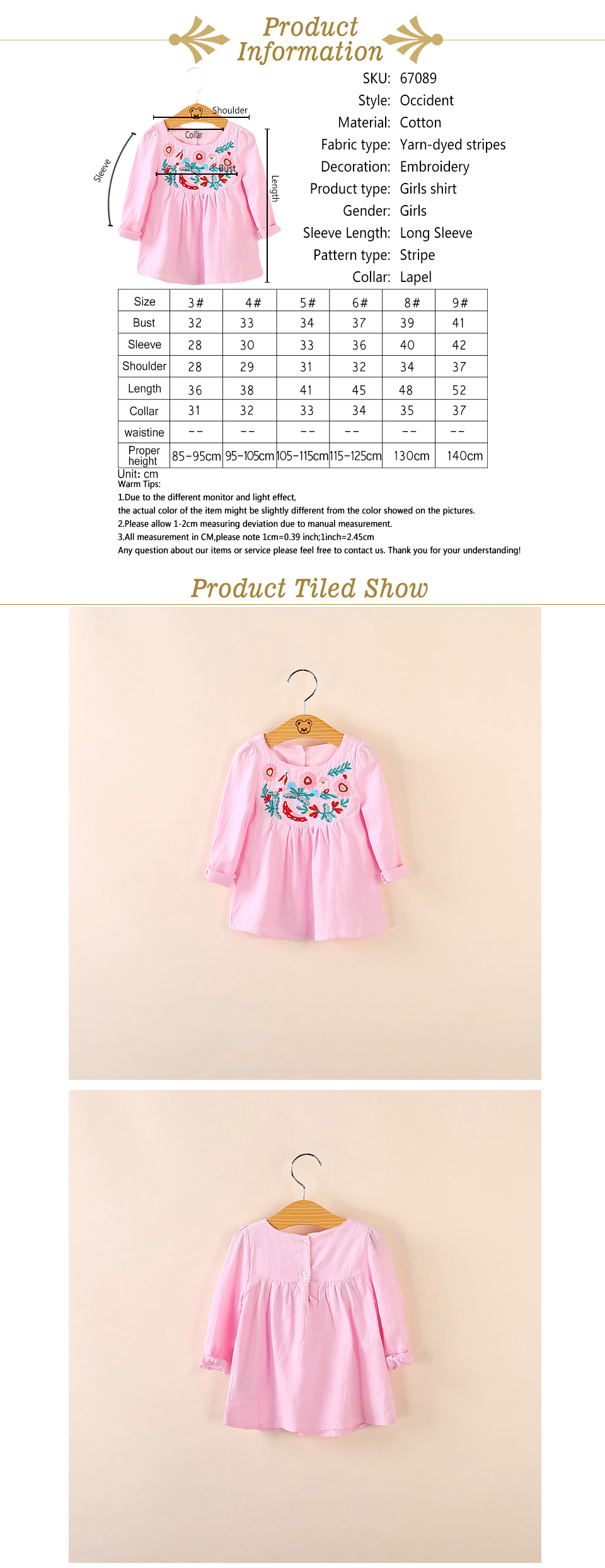 IMMDOS Spring Girls Blouses Children Kids 2018 Cotton Embroidery