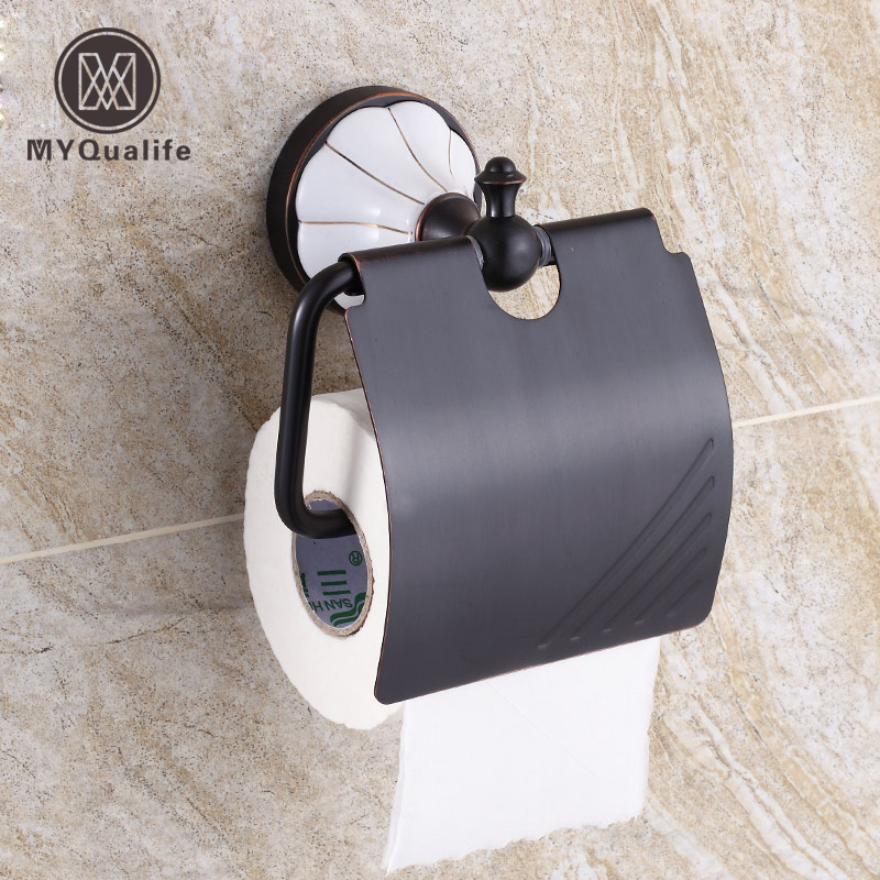 Oil Rubbed Bronze Toilet Roll Paper Holder With Cover Toliet Tissue Holder Wall Mounted Bathroom Kitchen Paper Bar oil rubbed bronze toilet paper holder wall mount tissue box