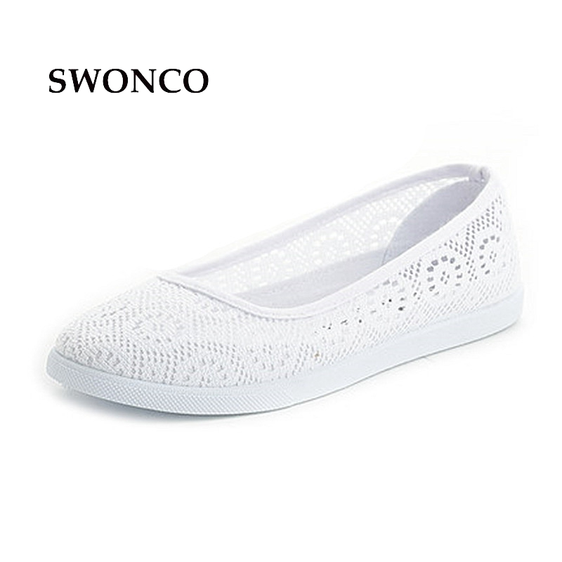 SWONCO Women's Flats Ladies Shoe 2018 Summer Breathable Mesh Woman Shoe Ladies Shoes Loafers Hollow Out Light Weight Women Flats nis women air mesh shoes pink black red blue white flat casual shoe breathable hollow out flats ladies soft light zapatillas
