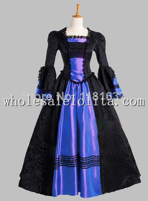 Noble Jacquard Satin Gothic Black and Blue Victorian Era Dress Cosplay Dress