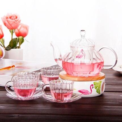 Après-midi thé avec verre résistant à la chaleur en céramique thé ensemble maison fleur théière ensemble bougie chauffage isolation théière coréenne