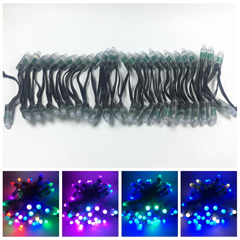 50pcs lot DC5V 12V input WS2811 pixel module12mm black green Wire led string Chrismas tree waterproof with 3pin JST Connectors