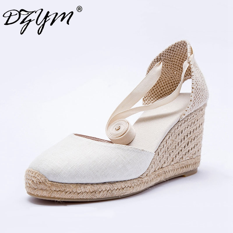 DZYM 2018 Summer Canvas Espadrilles Ankle Strap Women Wedge Sandals Super High Heels Fisherman Shoes Flax Hemp Wedding Shoes bowtie hemp black ankle strap white canvas espadrilles shoes bow flats fisherman sandals ladies lace up women straw cute pom pom