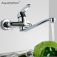 Wall Mounted Stream Sprayer Kitchen Faucet Single Handle Brass Flexible Hose Kitchen Mixer Taps Dual Holes Kitchen Faucet