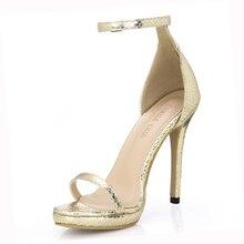купить Fashion Snakeskin Party Stiletto Ankle Strap Women Heeled Sandal Sandali Tacco Alto a Spillo Cinturino Alla Caviglia YJ0640A-13f дешево