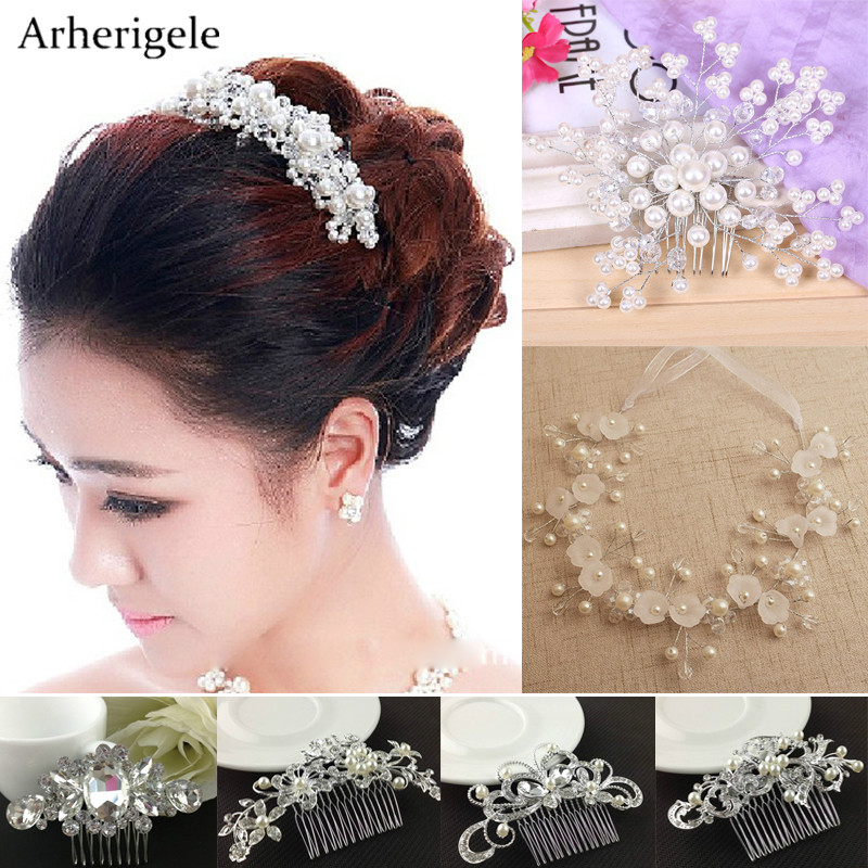 Fashion Wedding Hair Accessories Simulated Pearl Crystal Flower Bridal Hair Combs Crown Headbands Wedding Tiara Hair Jewelry