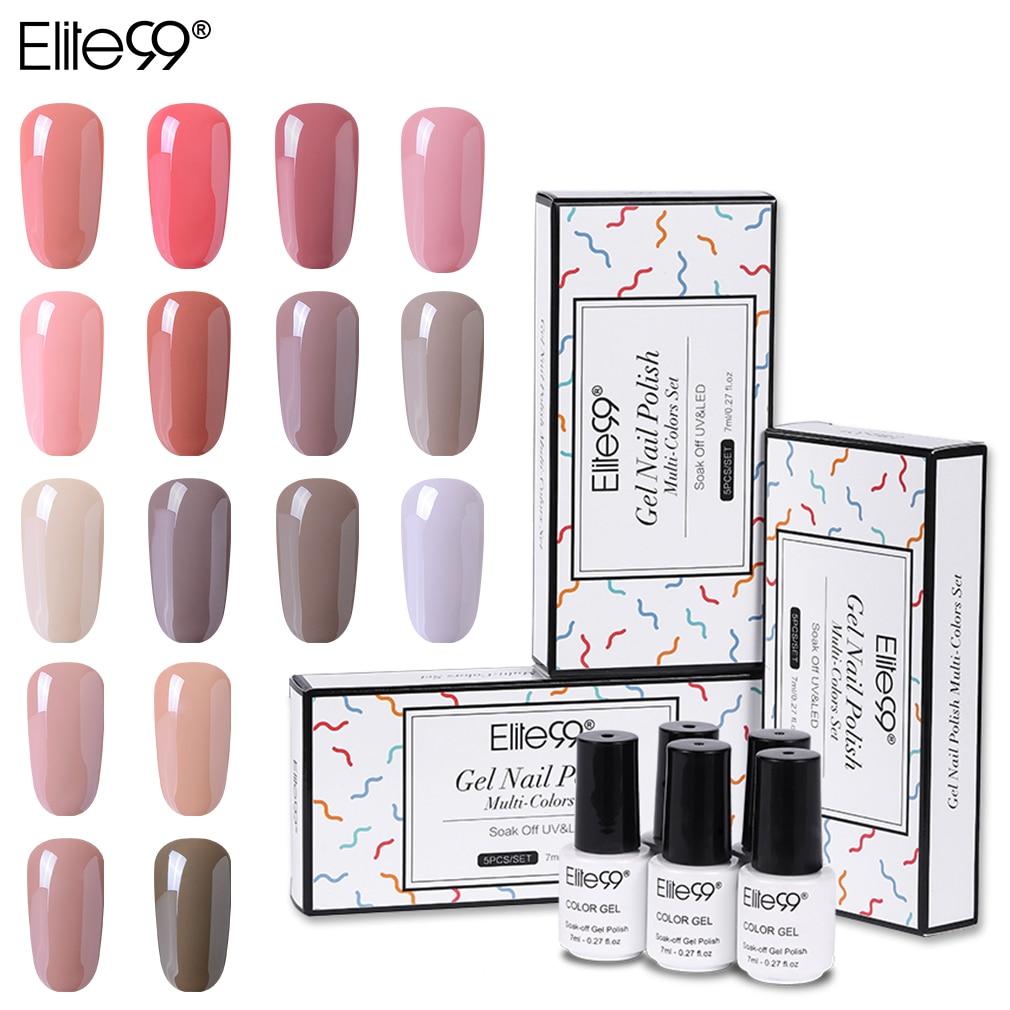Elite99 5 peças/lote Cor Nude Gel Naill Polonês Com Caixa De Presente 7ml Semi Permanente Esmalte Gel UV Soak Off gel Para Nail Lacquer