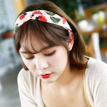 Summer Women Girls Stretchy Wide Headband Colored Pineapple Watermelon Fruit Print Boho Hairband Twist Cross Knot Styling Turban недорого