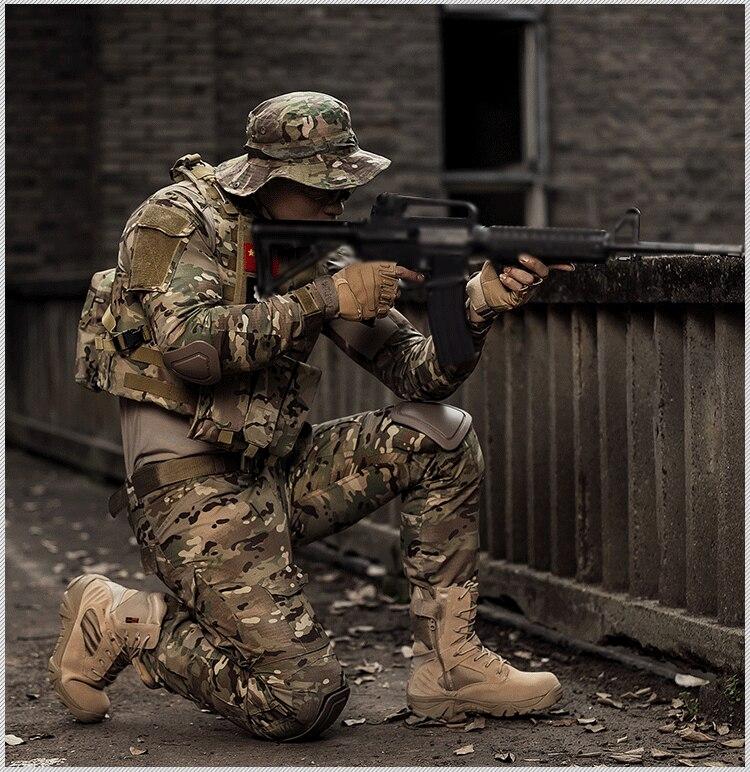Tactique Camouflage militaire uniforme vêtements costume hommes US armée Multicam Airsoft Combat chemise + Cargo pantalon genouillères - 6