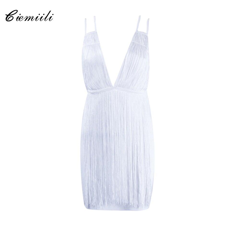 CIEMIILI White Spaghetti Strap Stylish Tassel Evening Party Bodycon Celebrity Bandage 2017 Dress Backless V Neck