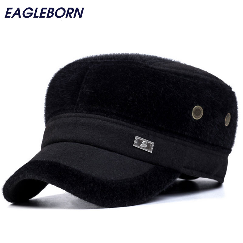 High quality fur mens hat winter protect head caps gorras chapeu fashion flat top casquettes 2017 women winter beanies hat wool hat skull high quality warm lady knit caps real raccoon fur pom poms gorros rhinestone bonnet