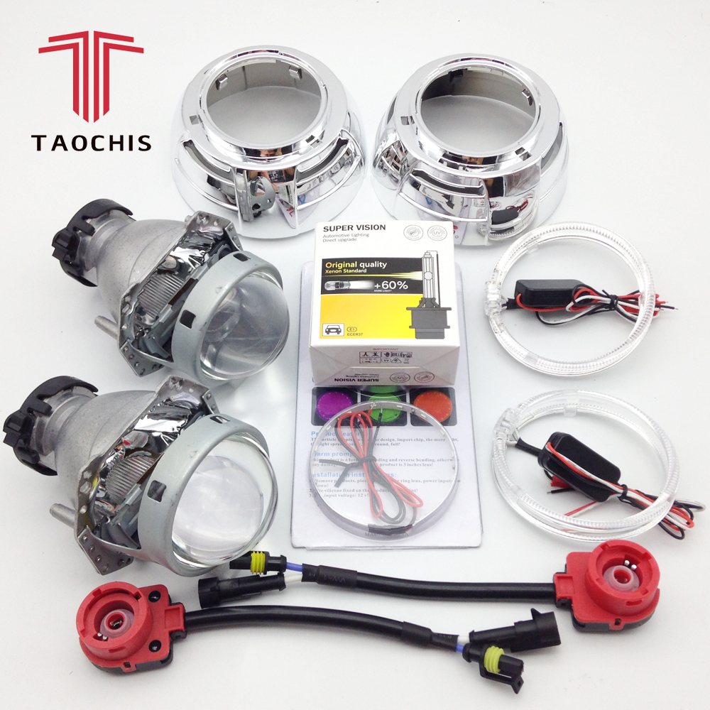 TAOCHIS 3.0 inch Bi-xenon Hella 3r g5 Projector Lens HID D1S D3S D4S D2S Shroud Devil Angel Eyes Head Lamp Upgrade Demon eye upgrade auto car headlight 3 0 inch hid bi xenon for hella 3r g5 5 projector lens replace headlamp retrofit d1s d2s d3s d4s