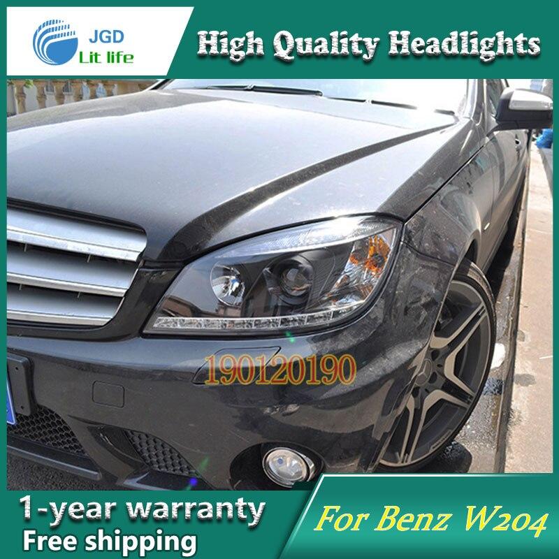 JGD Brand New Styling for Benz W204 C180 C200 C220 C230 LED Headlight 2007-2010 Headlight Bi-Xenon Head Lamp LED DRL Car Lights