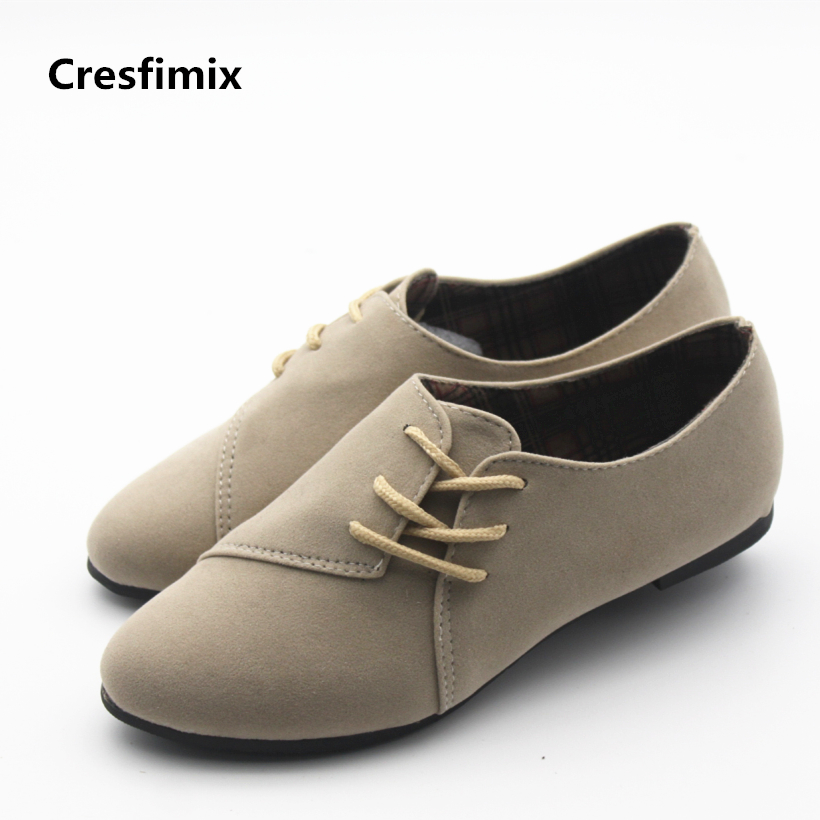 Cresfimix women cute spring & summer flat shoes lady casual lace up flats zapatos de mujer female cool pointed toe shoes cresfimix sapatos femininos women casual soft pu leather pointed toe flat shoes lady cute summer slip on flats soft cool shoes