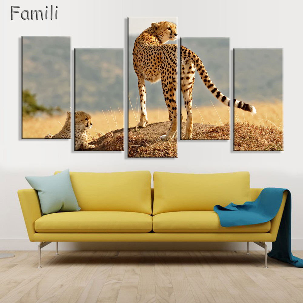 5 Panel Walking Leopard Picture HD Printed Cheetah Canvas Wall Art ...