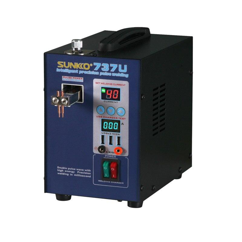 SUNKKO 737U Digital Display Double pulse Spot Welder LED illumination USB charging Handheld Welding Machine for 18650 battery