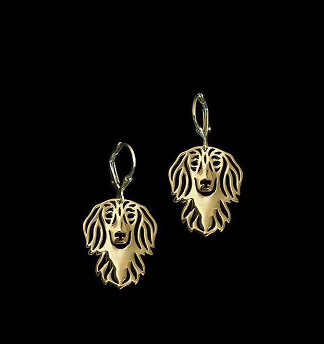 wholesale cartoon dachshund dog Earring jewelry Silver/gold color plated dachshund Ear Ring 12pair/lot