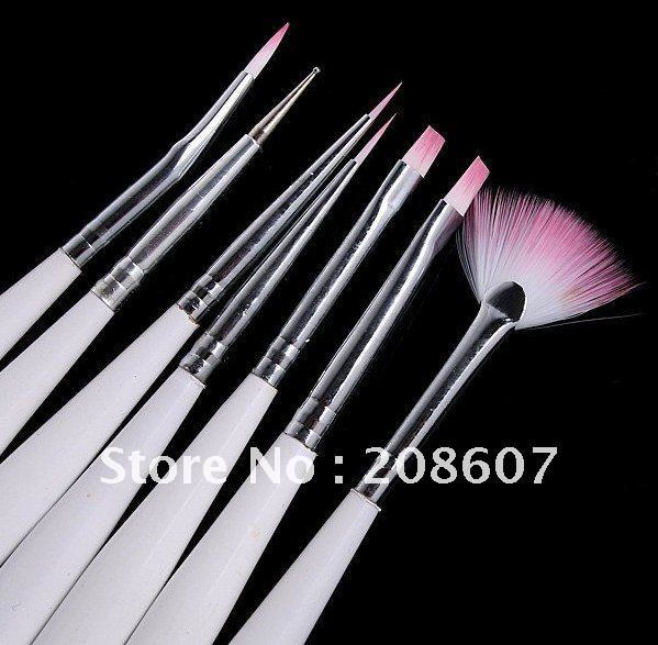Freeshipping Nail Art Manicure Tool 5sets/lot White Nail Brush Set Point Pen Dotting Tool Pen Phototherapy Crystal Carved