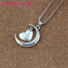 10pcs New Antique silver & Silver Plated Crescent Moon Heart Charm I Love You to the And Back Necklace T-24