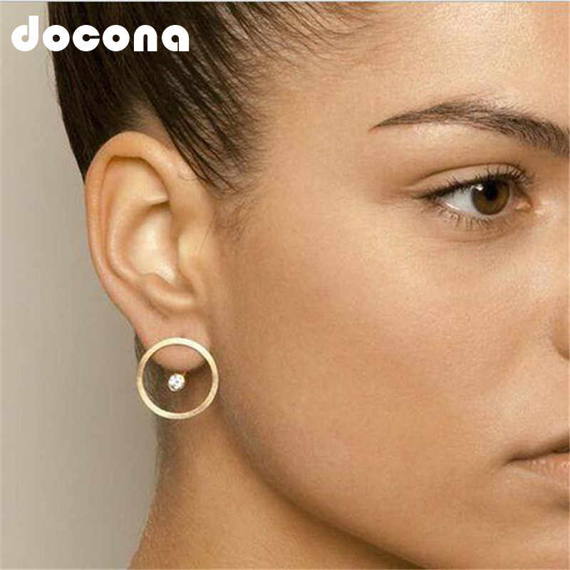 docona Gold Color Tiny Cirlce Crystal Stud Earring for Women Girl Hollow Geometric Studs Earrings Jewelry Brincos 2982