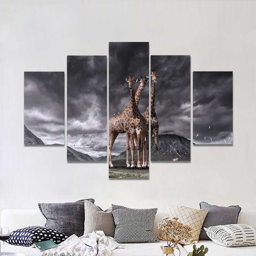 Unframed Canvas Painting Gothic Heavily Clouded Huge Giraffe Art Picture Prints Wall Picture For Living Room Wall Art Decoration