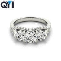 QYI 925 silver cubic zirconia solitaire ring engagement vintage jewellery simulated diamond wedding band Ring