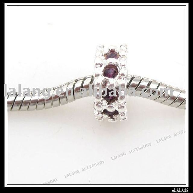 30x Purple Rhinestone Screw Bead Fit Charm Bracelet 150448 Free Shipping
