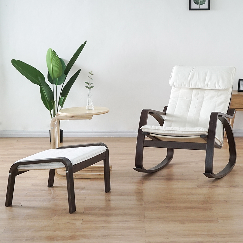 Comfortable Relax Wood Adult Rocking Chair With Footstool Black Brown  Living Room Furniture Modern Chaise Lounge Recliner Rocker