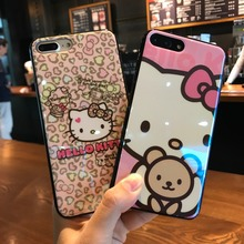 KJYKJ Cartoon Cute Hello kitty soft Silicon case for iphone 6s 6 Plus blu-ray Protection coque For iphone X 7 8 Plus flash