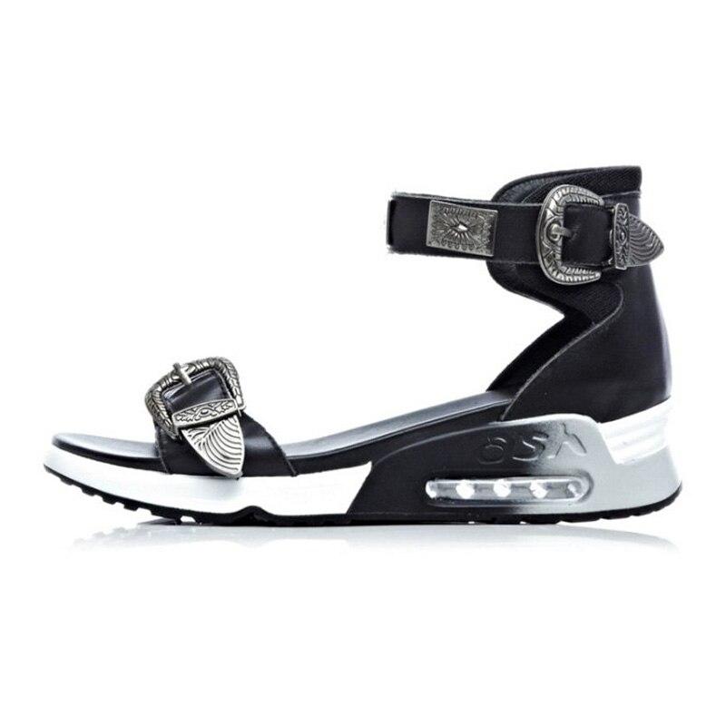 Grueso Fiesta Club Moda Casual Razamaza 2019 Metal Negro Planos Vacaciones Fondo Sandalias blanco 39 Mujer Hebilla 34 Tamaño Zapatos Cuero De 1Pzpw8