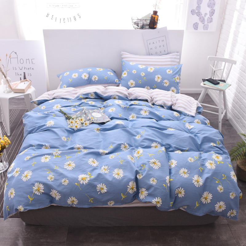 Home Textile Bedding Set Blue Daisy Flower 100 Cotton King