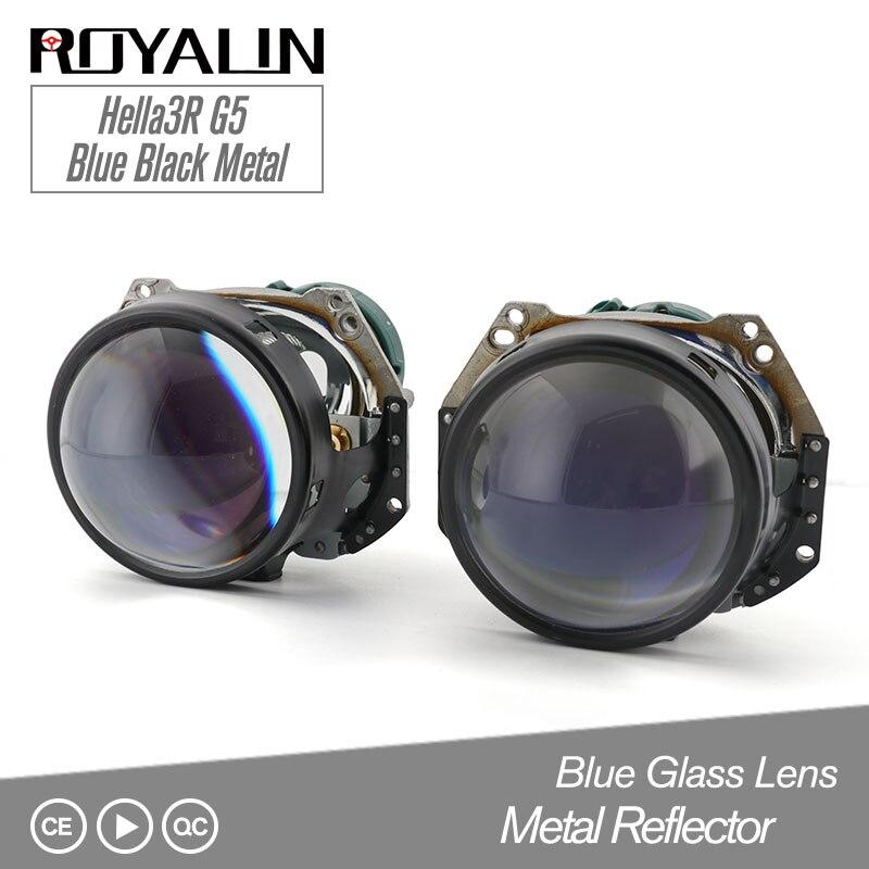 ROYALIN Bleu Hella 3R G5 Noir style de voiture Bi Xénon Phares Projecteur Universel Auto HID D2S D2H Lampe Salut/lo rénovation Lentille