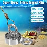 48/60/67/75mm Search Recovery Double Ring Strong Neodymium Magnet Circular Ring Hook Steel Salvage Fishing