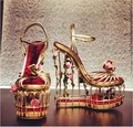 Loved Rose Flowers Gold Metal Cage Heels Gladiator Sandals Women Shoes Gorgeous Platform Wedge Sandals Sexy Ladies Wedding Shoes