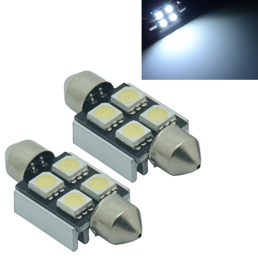 CQD-Light 10PCS 36mm 39mm 42mm White Canbus 41mm 4 SMD Festoon C10W 264 5050 LED Interior Reading Bulbs Car License Plate Light