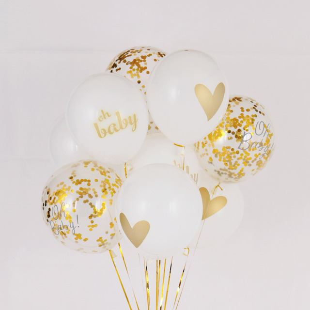 8pcs/lot 10inch baby shower kids birthday balloons its a boy it's a girl gold confetti oh baby printed decorations party supply