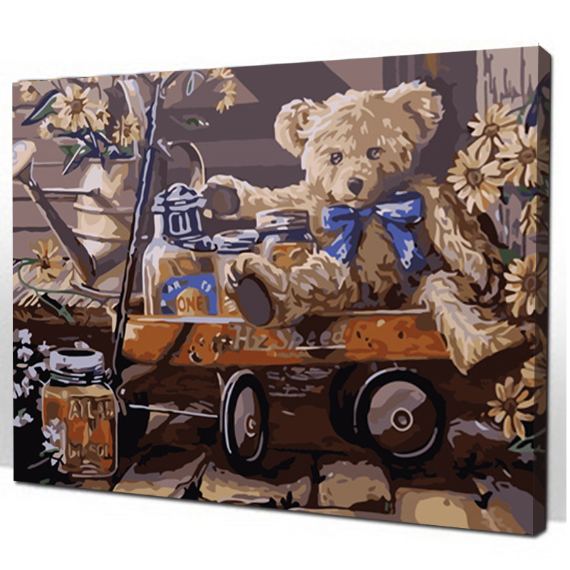 Teddy Bear Framed 16x20inch Pictures Paint By Numbers Diy