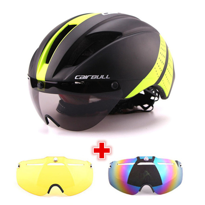 Cycling Helmet Goggles Road-Bike In-Mold Speed-Airo Safety Riding Aero Time-Trial 3-Lens title=