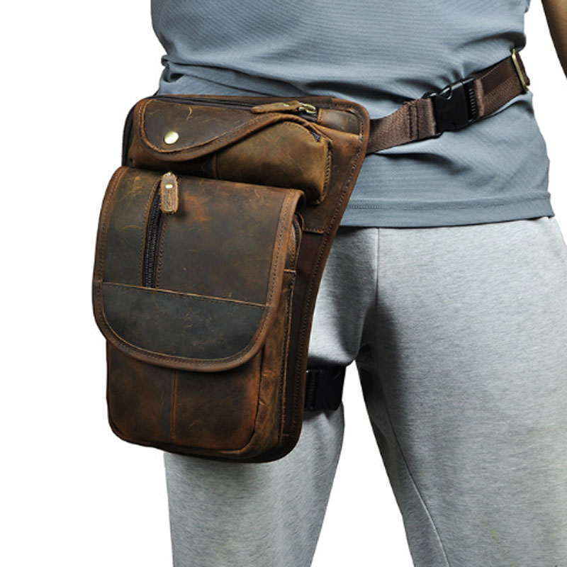 Real Cow Leather Men Thigh Drop Leg Bag Vintage Genuine Leather Classic Motorcycle Hip Belt Fanny