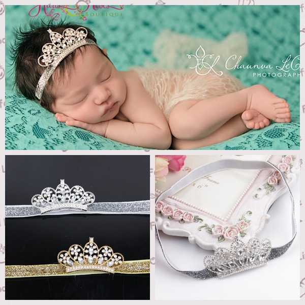 New Baby Hair Accessories Hairbands Baby Princess Queen Rhinestone Tiara Elastic Hair Band Headband Kids Flower Crown Headwear